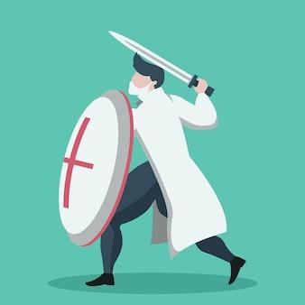 Disegno del fumetto del medico guerriero con scudo e spada