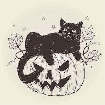 Disegno del gatto di halloween