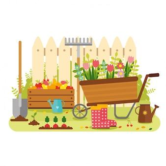 Disegno del giardino di sfondo