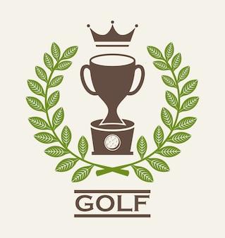Disegno del golf sopra l'illustrazione beige di vettore del fondo