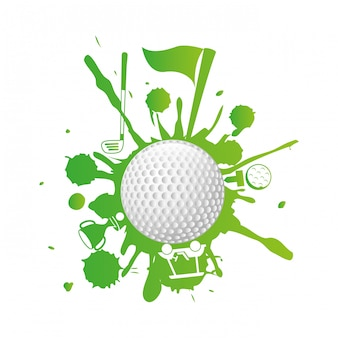 Disegno del golf sopra l'illustrazione bianca di vettore del fondo