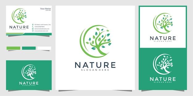 Disegno del logo albero verde e biglietto da visita