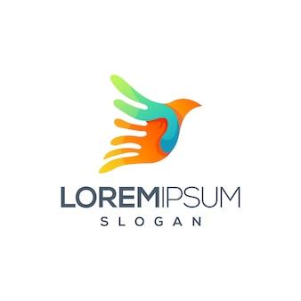 Disegno del logo colorato uccello
