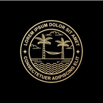 Disegno del logo di arte linea spiaggia