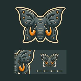 Disegno del logo di elefante e farfalla