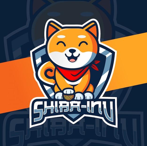 Disegno del logo di esportazione cane mascotte del giappone
