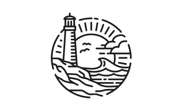 Disegno del logo di lighthouse coastal beach