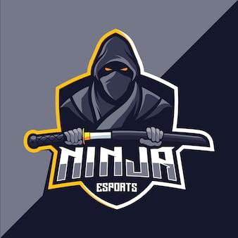 Disegno del logo esport della mascotte ninja