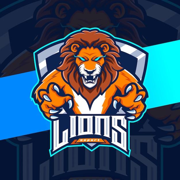 Disegno del logo esport leone mascotte