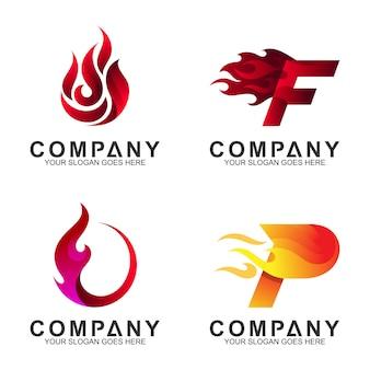 Disegno del logo iniziale / lettera con forma di movimento del fuoco