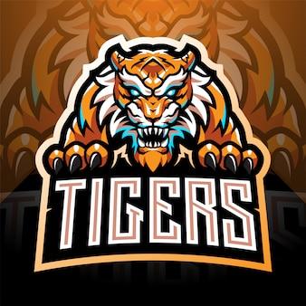 Disegno del logo mascotte esport faccia di tigre