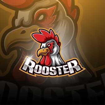 Disegno del logo mascotte esport gallo