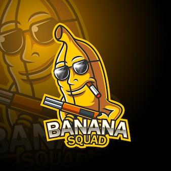 Disegno del logo mascotte esportatore di banane