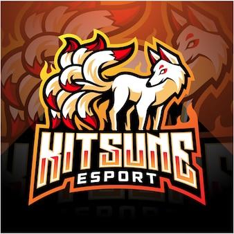 Disegno del logo mascotte kitsune esport