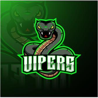 Disegno del logo mascotte serpente vipera verde