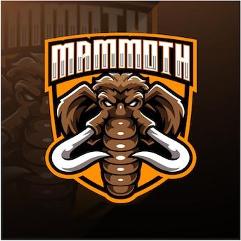 Disegno del logo mascotte testa di mammut esport