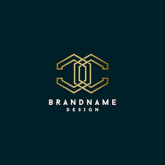 Disegno del logo poligonale monogramma lettera c.