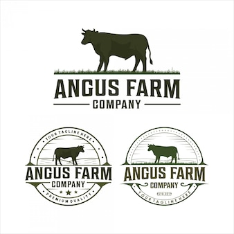 Disegno del logo vintage di angus farm