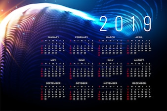 Disegno del manifesto del calendario 2019 in stile tecnologico