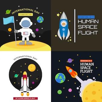 Disegno del manifesto dell'illustrazione di volo del giorno internazionale dello spazio umano