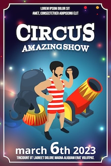 Disegno del manifesto dello spettacolo circense