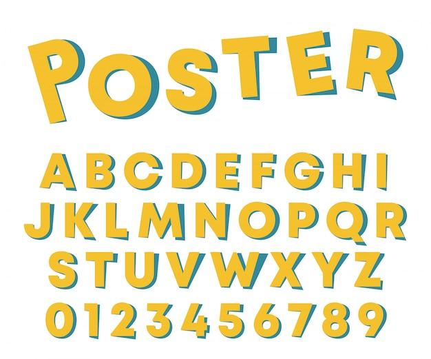 Disegno del manifesto di alfabeto lettere e numeri con ombra di carta isolato su sfondo bianco. illustrazione
