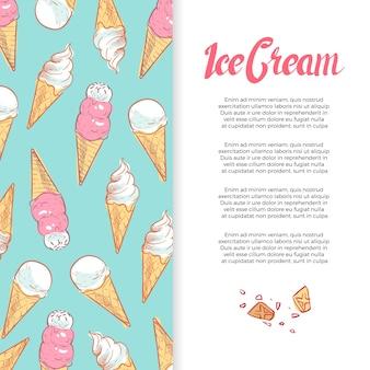 Disegno del manifesto di banner di coni gelato disegnato a mano