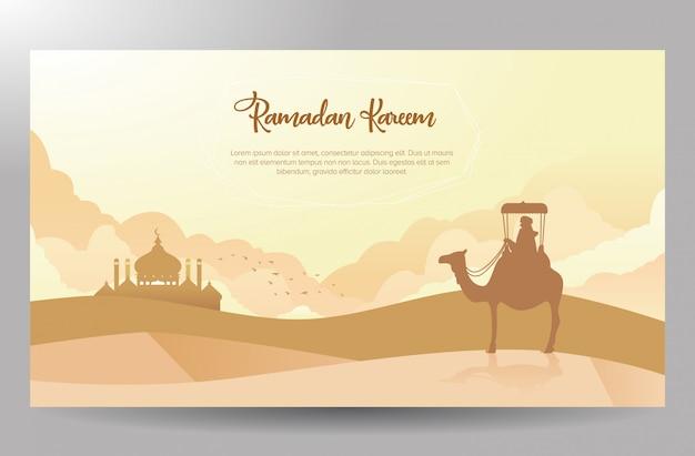 Disegno del manifesto di ramadan kareem a tema viaggiatore del deserto