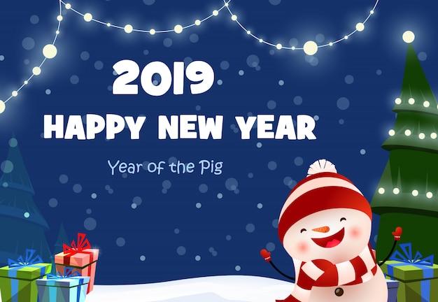 Disegno del manifesto festivo di capodanno con pupazzo di neve allegro