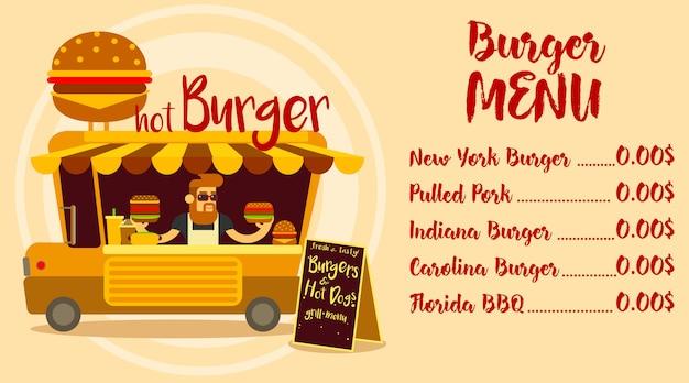 Disegno del menu del ristorante fast food. camion di fast food con un grande hamburger.