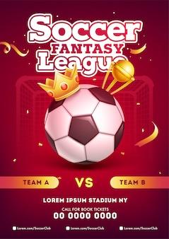 Disegno del modello del manifesto della lega di calcio di calcio con il calcio, corona del vincitore