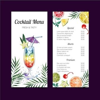 Disegno del modello dell'acquerello del menu di cocktail