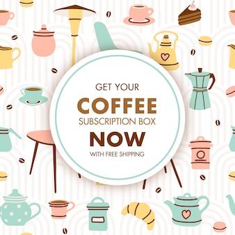 Disegno del modello di abbonamento caffè carino