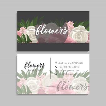 Disegno del modello di biglietto da visita floreale