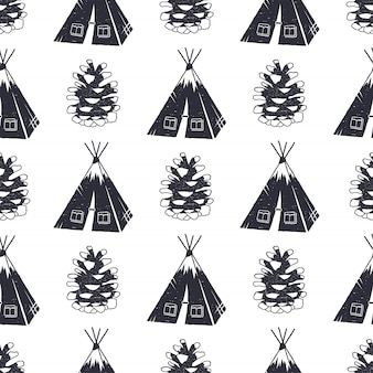 Disegno del modello di campeggio e foresta. carta da parati senza cuciture con la tenda, illustrazione della pigna