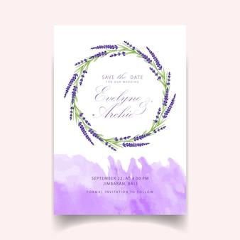 Disegno del modello di carta di invito matrimonio floreale con fiori di lavanda.