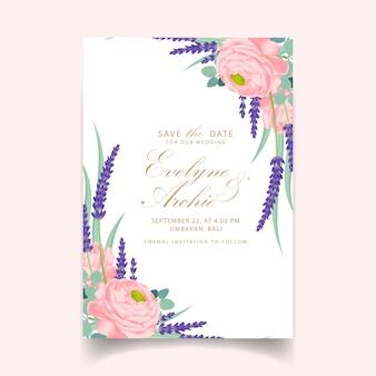 Disegno del modello di carta di invito matrimonio floreale con ranuncolo rosa e fiori di lavanda.