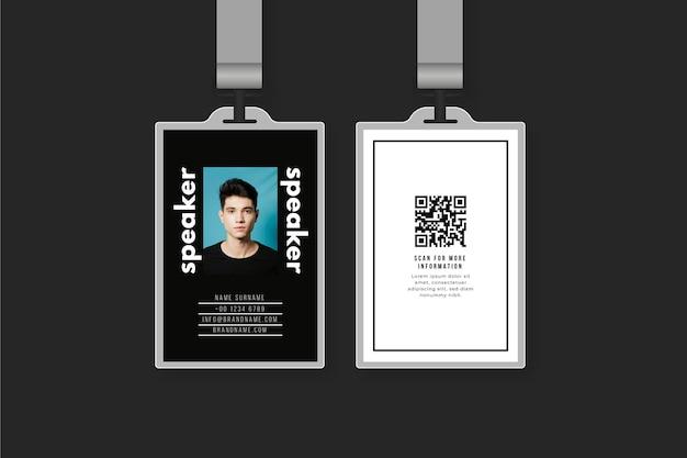 Disegno del modello di carte d'identità con foto