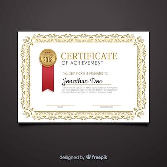 Disegno del modello di certificato ornamentale