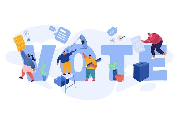 Disegno del modello di concetto di voto ed elezione. campagna preelettorale. promozione di personaggi candidati. cittadini che discutono, danno voto cartaceo ai candidati alle urne.