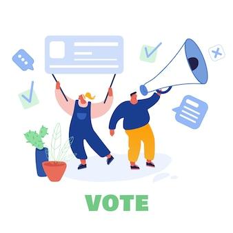 Disegno del modello di concetto di voto ed elezione. campagna preelettorale. promozione di personaggi candidati. i cittadini che mettono il voto cartaceo nelle urne.