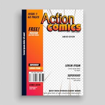 Disegno del modello di copertina del libro di fumetti di azione