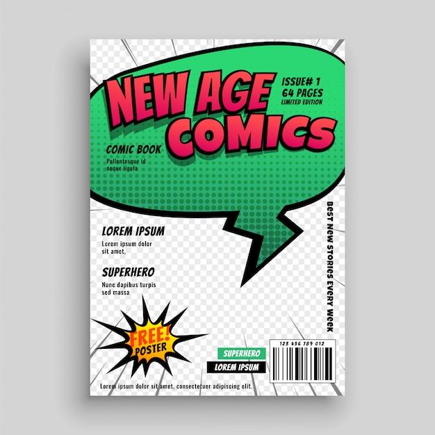 Disegno del modello di copertina della pagina del libro di fumetti