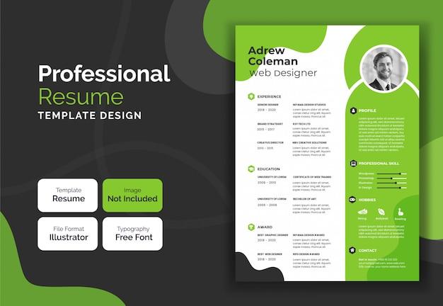 Disegno del modello di curriculum aziendale e professionale blu e nero