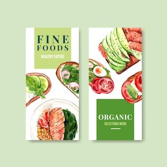 Disegno del modello di etichetta di alimenti sani e biologici