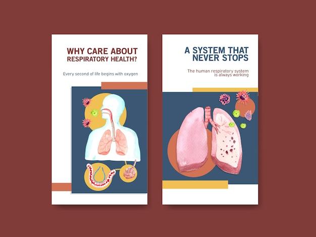Disegno del modello di instagram respiratorio con anatomia umana del polmone e cure sane