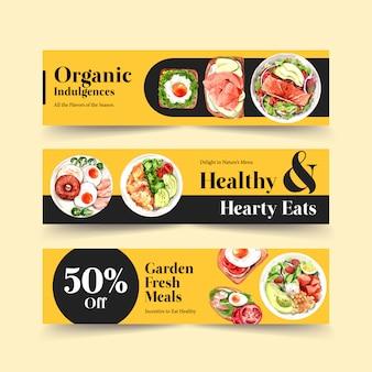 Disegno del modello di intestazione panoramica cibo sano