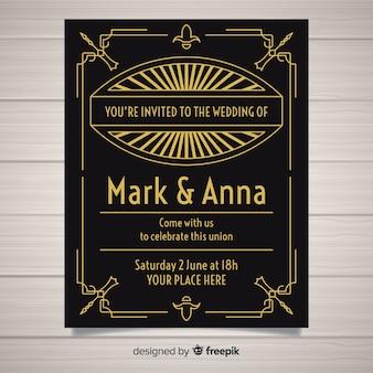 Disegno del modello di invito di nozze di art deco nero e dorato