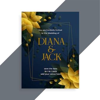 Disegno del modello di invito matrimonio scuro stile fiore dorato