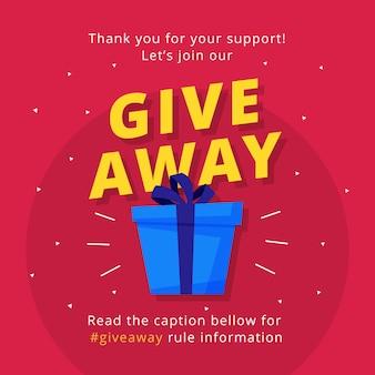 Disegno del modello di manifesto giveaway per social media post o banner del sito.